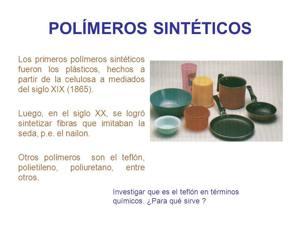 POLÍMEROS SINTÉTICOS Los primeros polímeros sintéticos fueron los plásticos, hechos a partir de la celulosa a mediados del siglo XIX (1865).