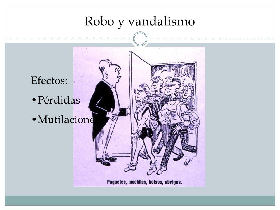 Robo y vandalismo Efectos: Pérdidas Mutilaciones