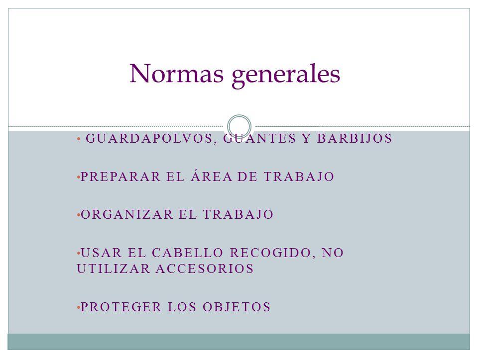 Normas generales guardapolvos, guantes y barbijos