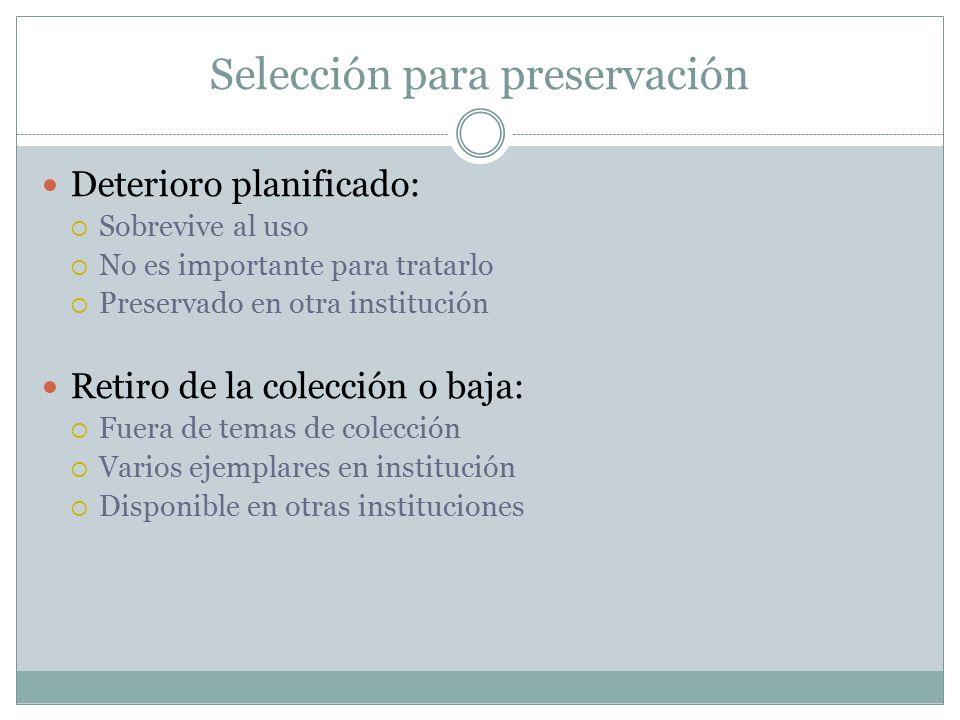 Selección para preservación