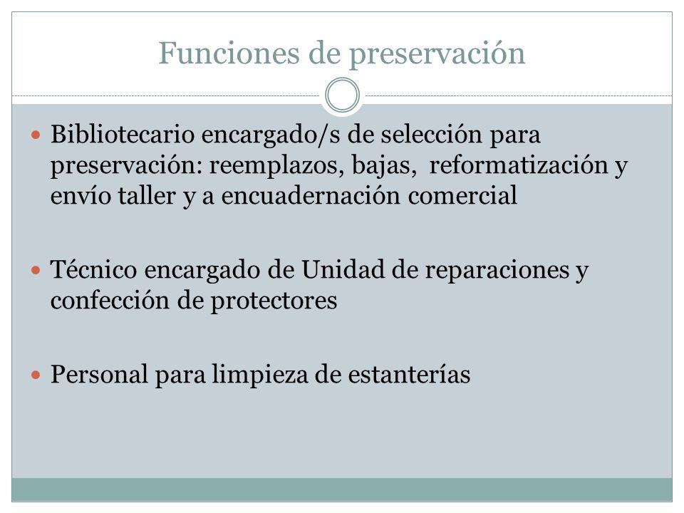 Funciones de preservación