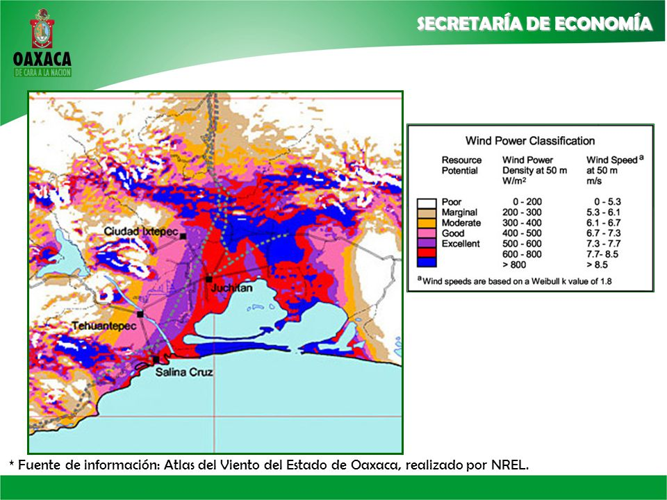 * Fuente de información: Atlas del Viento del Estado de Oaxaca, realizado por NREL.