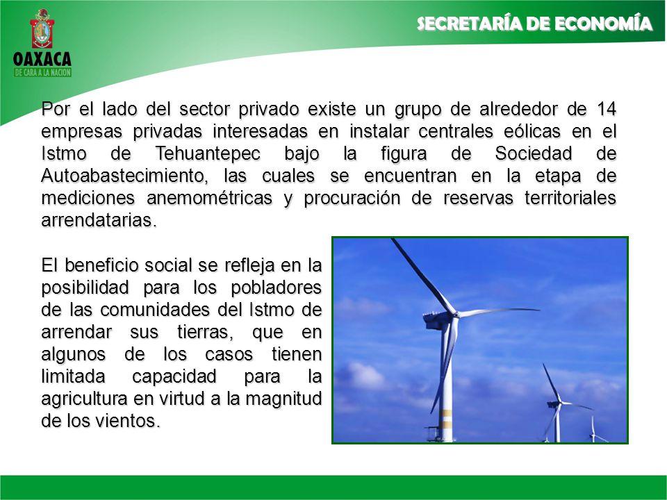 Por el lado del sector privado existe un grupo de alrededor de 14 empresas privadas interesadas en instalar centrales eólicas en el Istmo de Tehuantepec bajo la figura de Sociedad de Autoabastecimiento, las cuales se encuentran en la etapa de mediciones anemométricas y procuración de reservas territoriales arrendatarias.