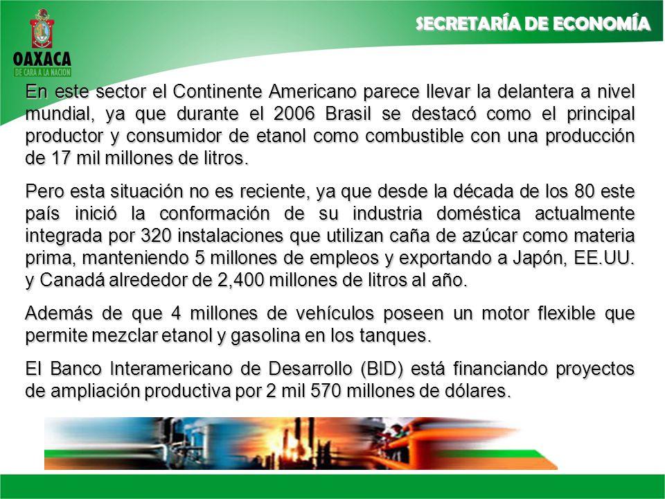 En este sector el Continente Americano parece llevar la delantera a nivel mundial, ya que durante el 2006 Brasil se destacó como el principal productor y consumidor de etanol como combustible con una producción de 17 mil millones de litros.