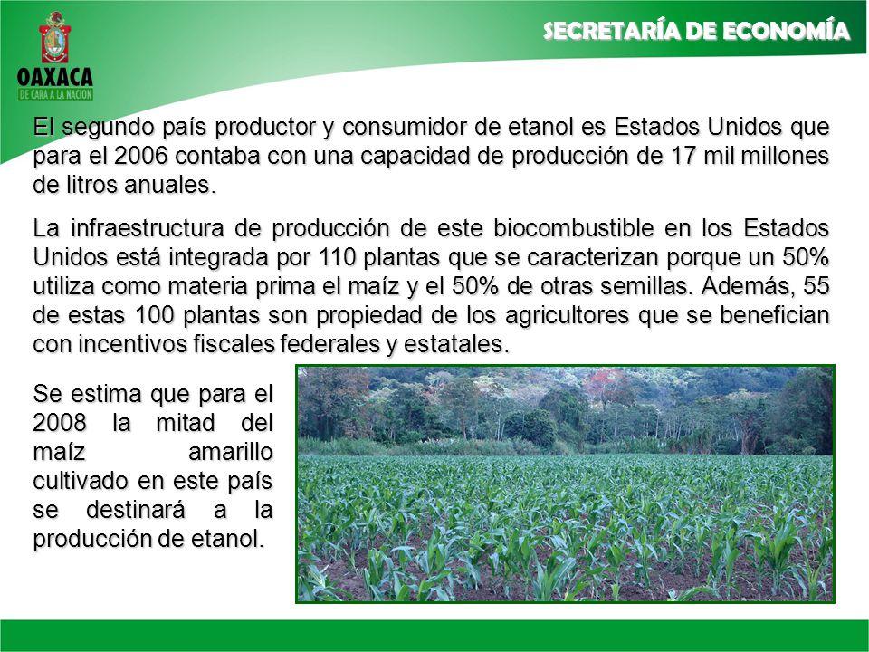 El segundo país productor y consumidor de etanol es Estados Unidos que para el 2006 contaba con una capacidad de producción de 17 mil millones de litros anuales.