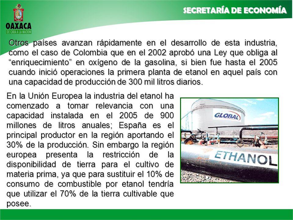 Otros países avanzan rápidamente en el desarrollo de esta industria, como el caso de Colombia que en el 2002 aprobó una Ley que obliga al enriquecimiento en oxígeno de la gasolina, si bien fue hasta el 2005 cuando inició operaciones la primera planta de etanol en aquel país con una capacidad de producción de 300 mil litros diarios.