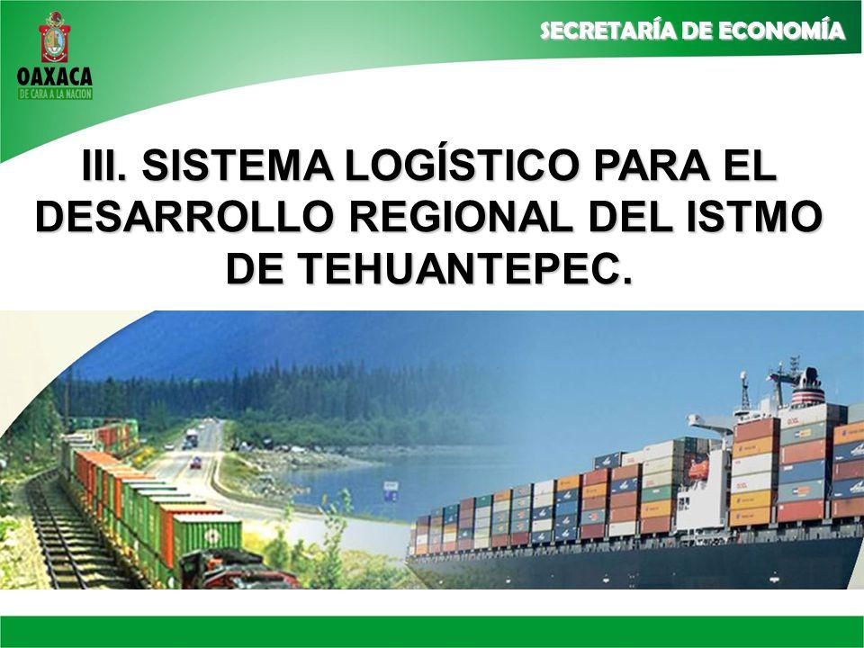 III. SISTEMA LOGÍSTICO PARA EL DESARROLLO REGIONAL DEL ISTMO DE TEHUANTEPEC.
