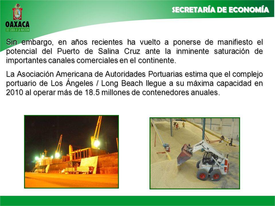 Sin embargo, en años recientes ha vuelto a ponerse de manifiesto el potencial del Puerto de Salina Cruz ante la inminente saturación de importantes canales comerciales en el continente.