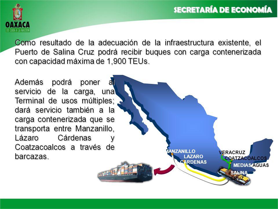 Como resultado de la adecuación de la infraestructura existente, el Puerto de Salina Cruz podrá recibir buques con carga contenerizada con capacidad máxima de 1,900 TEUs.