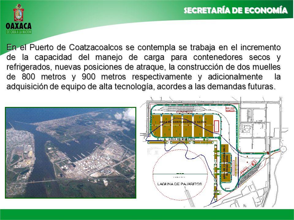 En el Puerto de Coatzacoalcos se contempla se trabaja en el incremento de la capacidad del manejo de carga para contenedores secos y refrigerados, nuevas posiciones de atraque, la construcción de dos muelles de 800 metros y 900 metros respectivamente y adicionalmente la adquisición de equipo de alta tecnología, acordes a las demandas futuras.
