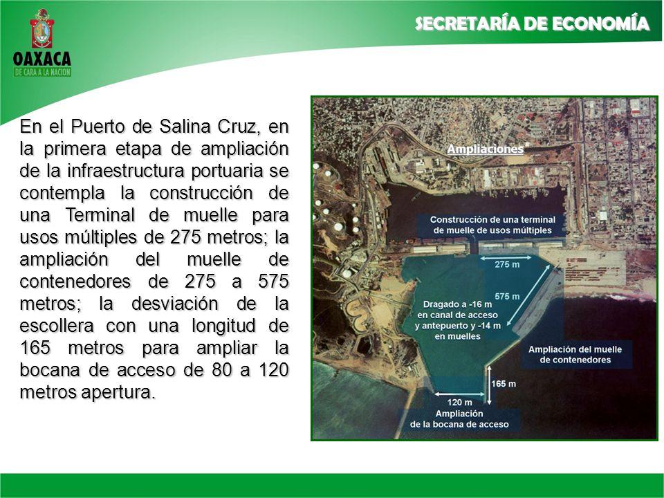 En el Puerto de Salina Cruz, en la primera etapa de ampliación de la infraestructura portuaria se contempla la construcción de una Terminal de muelle para usos múltiples de 275 metros; la ampliación del muelle de contenedores de 275 a 575 metros; la desviación de la escollera con una longitud de 165 metros para ampliar la bocana de acceso de 80 a 120 metros apertura.