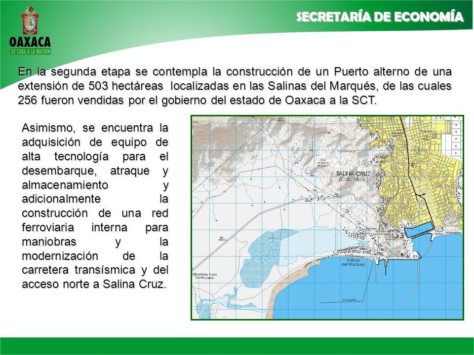 En la segunda etapa se contempla la construcción de un Puerto alterno de una extensión de 503 hectáreas localizadas en las Salinas del Marqués, de las cuales 256 fueron vendidas por el gobierno del estado de Oaxaca a la SCT.