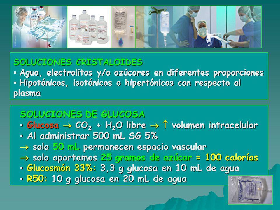 SOLUCIONES CRISTALOIDES ▪ Agua, electrolitos y/o azúcares en diferentes proporciones ▪ Hipotónicos, isotónicos o hipertónicos con respecto al plasma