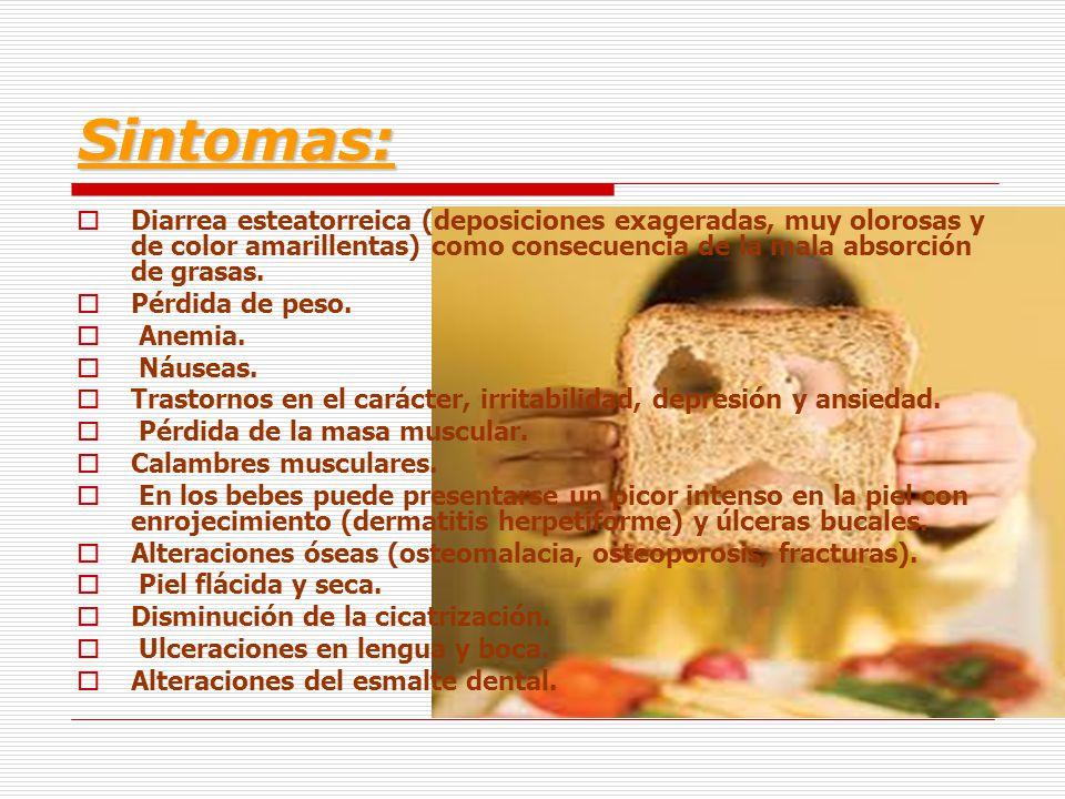 Sintomas: Diarrea esteatorreica (deposiciones exageradas, muy olorosas y de color amarillentas) como consecuencia de la mala absorción de grasas.