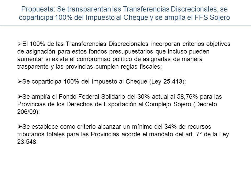 Propuesta: Se transparentan las Transferencias Discrecionales, se coparticipa 100% del Impuesto al Cheque y se amplía el FFS Sojero
