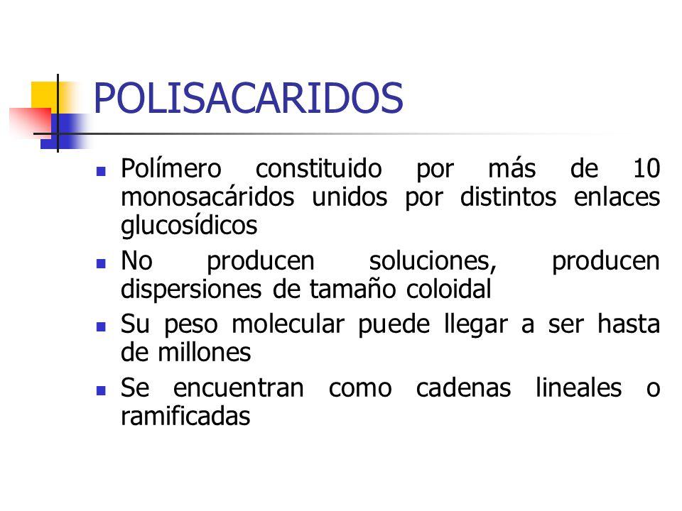 POLISACARIDOS Polímero constituido por más de 10 monosacáridos unidos por distintos enlaces glucosídicos.