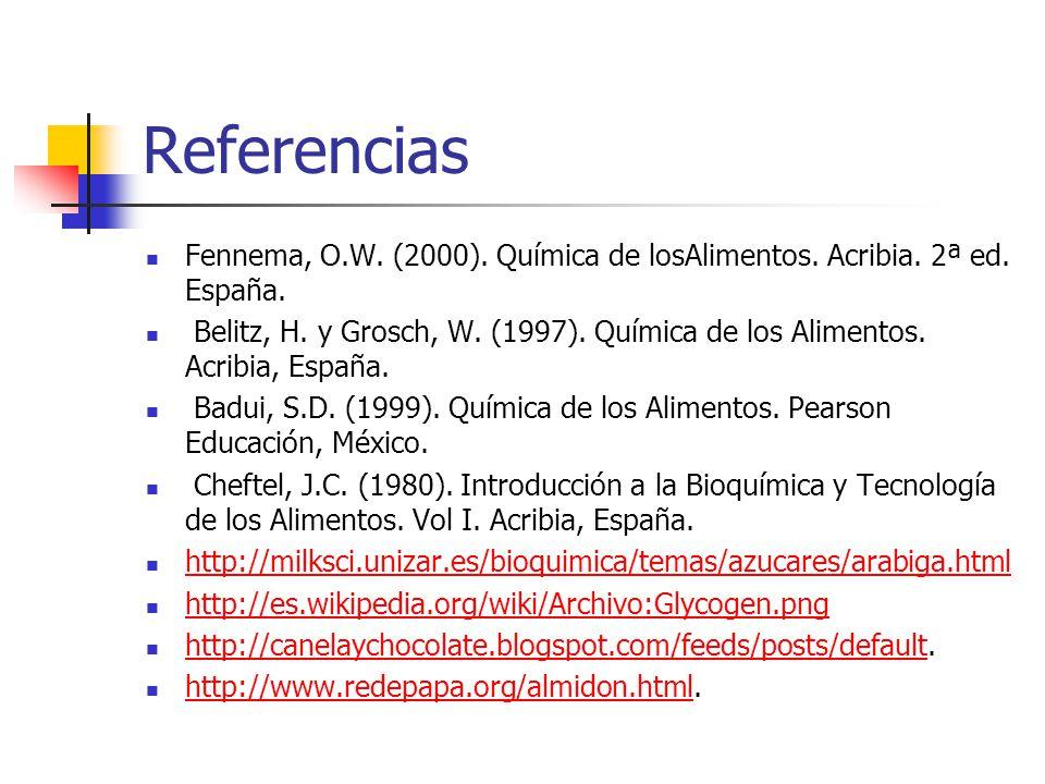 Referencias Fennema, O.W. (2000). Química de losAlimentos. Acribia. 2ª ed. España.