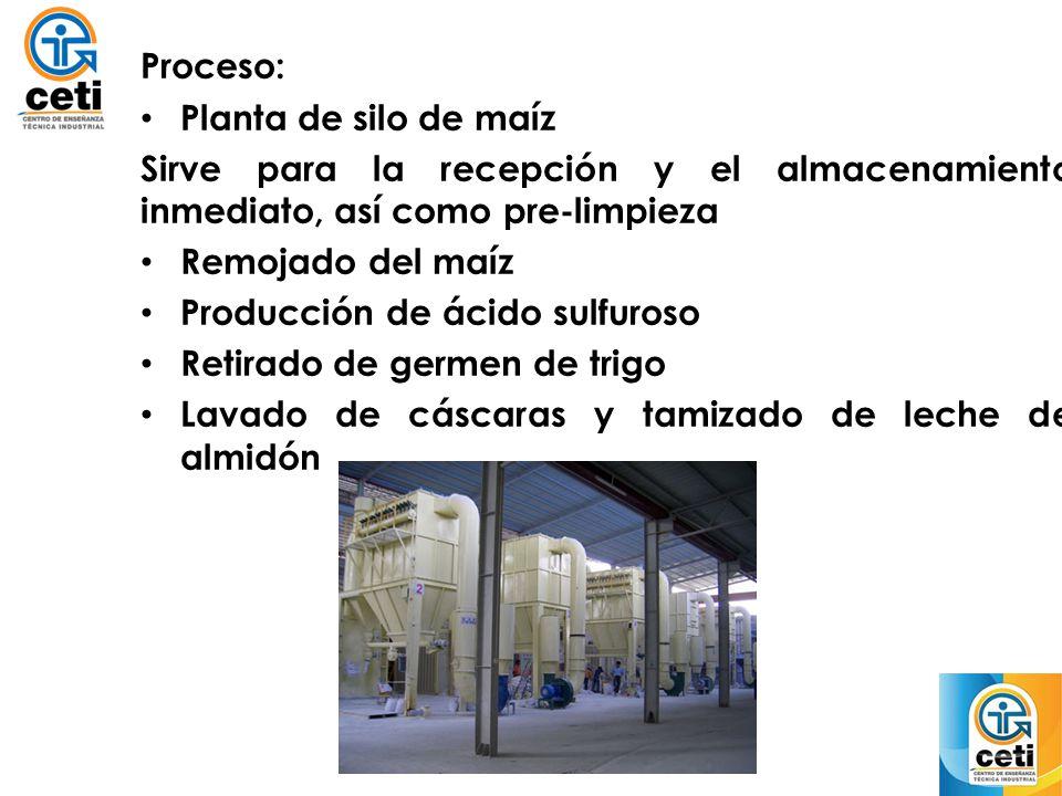 Proceso: Planta de silo de maíz. Sirve para la recepción y el almacenamiento inmediato, así como pre-limpieza.