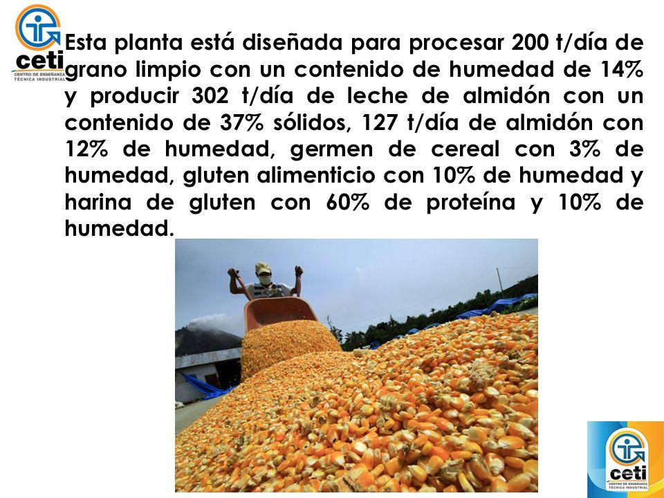 Esta planta está diseñada para procesar 200 t/día de grano limpio con un contenido de humedad de 14% y producir 302 t/día de leche de almidón con un contenido de 37% sólidos, 127 t/día de almidón con 12% de humedad, germen de cereal con 3% de humedad, gluten alimenticio con 10% de humedad y harina de gluten con 60% de proteína y 10% de humedad.