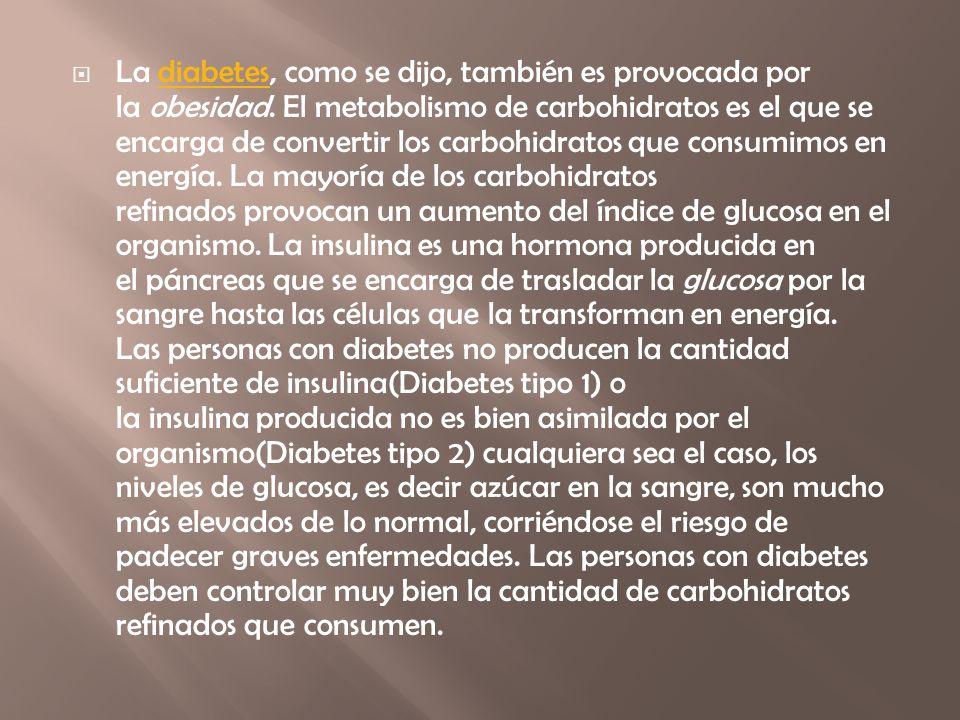 La diabetes, como se dijo, también es provocada por la obesidad