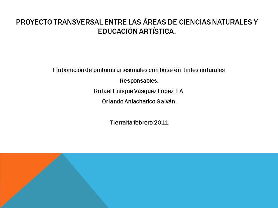 Proyecto transversal entre las áreas de ciencias naturales y educación artística.