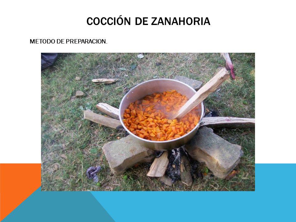 Cocción de zanahoria METODO DE PREPARACION.