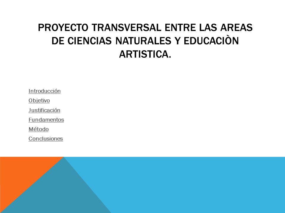 PROYECTO TRANSVERSAL ENTRE LAS AREAS DE CIENCIAS NATURALES Y EDUCACIÒN ARTISTICA.