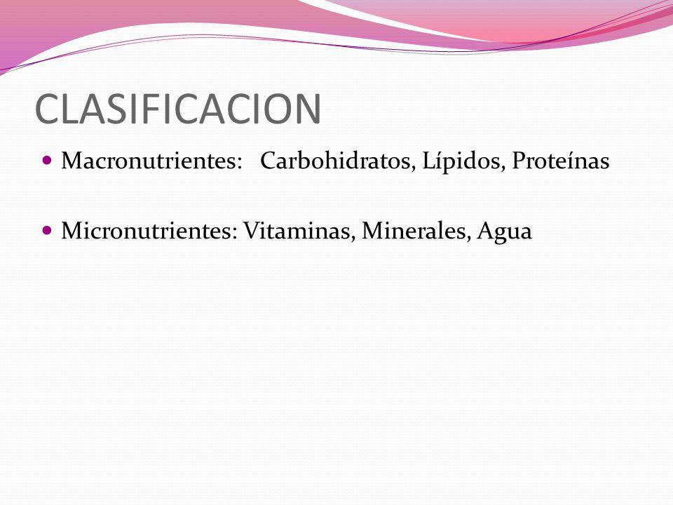 CLASIFICACION Macronutrientes: Carbohidratos, Lípidos, Proteínas