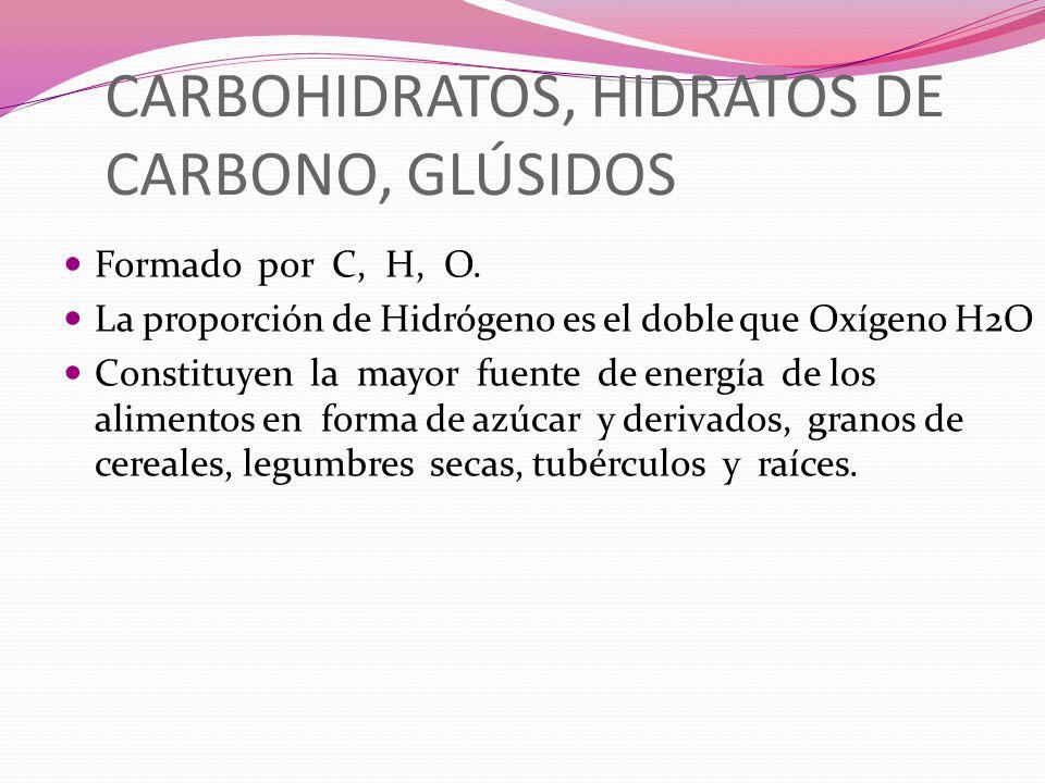 CARBOHIDRATOS, HIDRATOS DE CARBONO, GLÚSIDOS