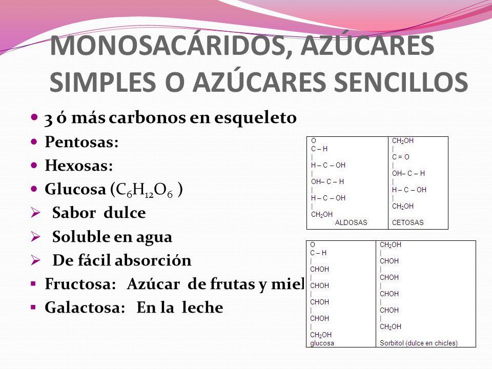 MONOSACÁRIDOS, AZÚCARES SIMPLES O AZÚCARES SENCILLOS