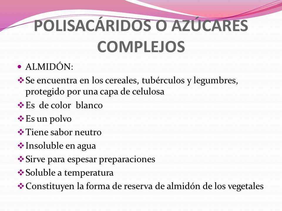 POLISACÁRIDOS O AZÚCARES COMPLEJOS