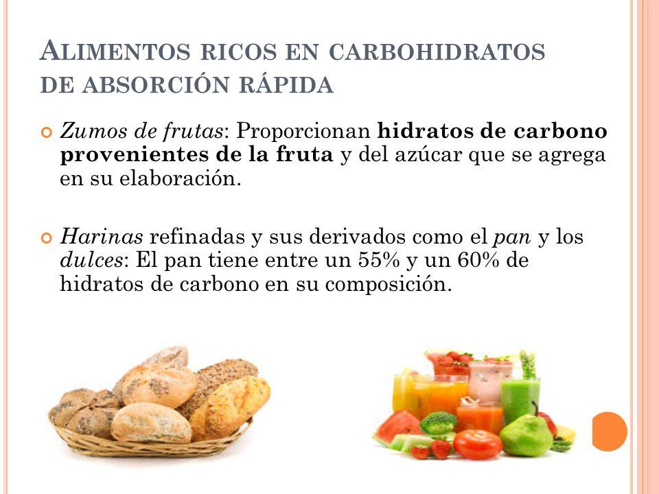 Alimentos ricos en carbohidratos de absorción rápida