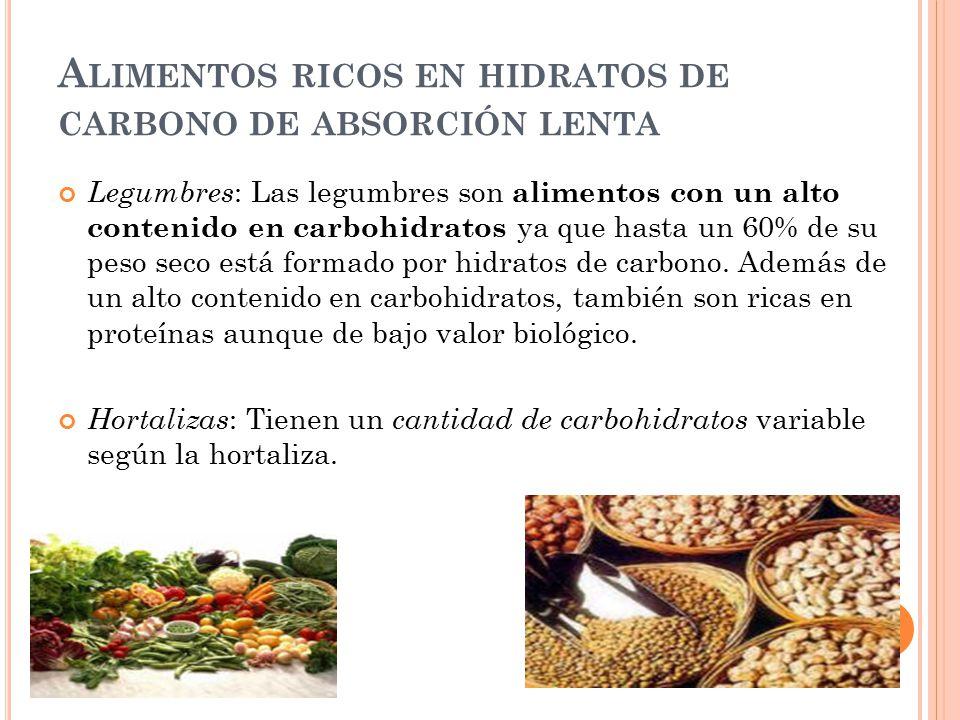 Alimentos ricos en hidratos de carbono de absorción lenta