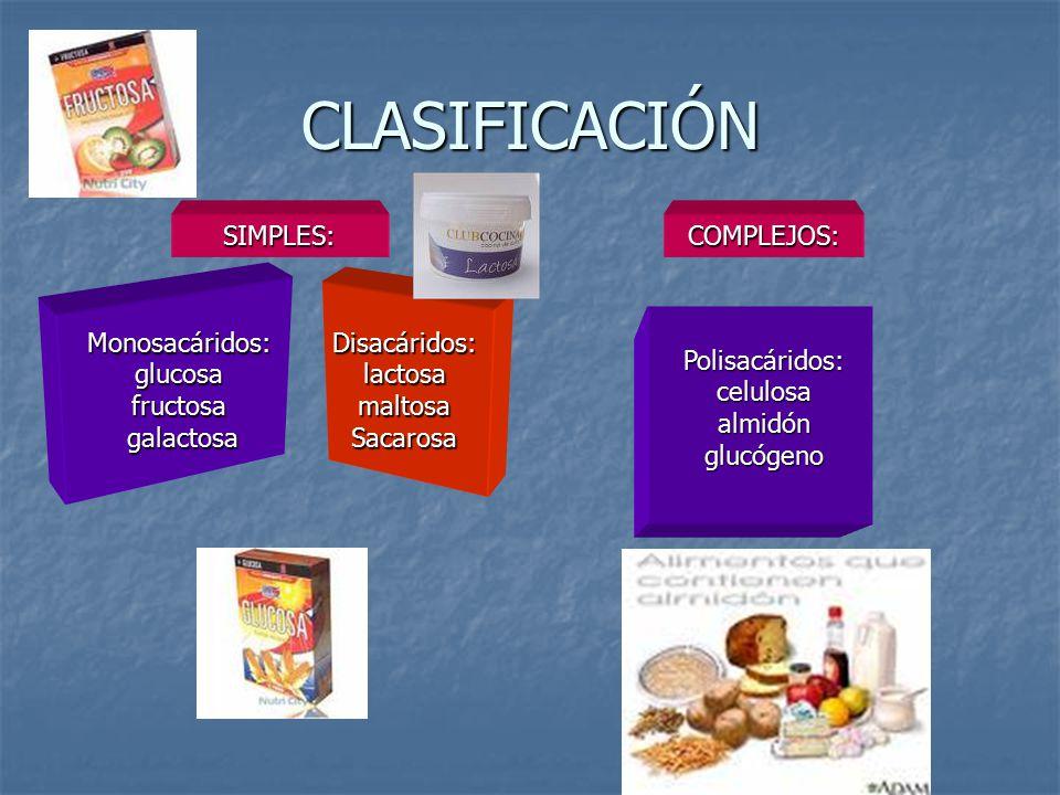 CLASIFICACIÓN SIMPLES: COMPLEJOS: Monosacáridos: glucosa fructosa