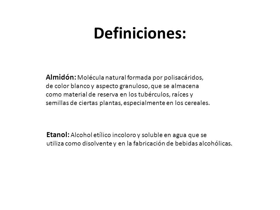 Definiciones: Almidón: Molécula natural formada por polisacáridos,