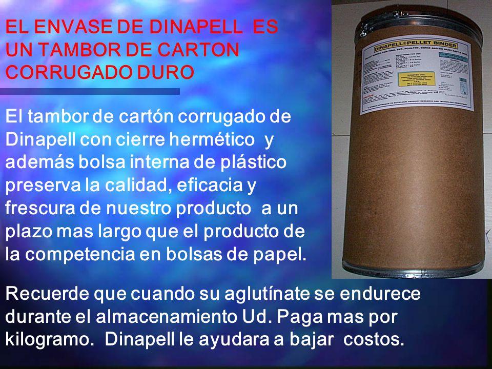 EL ENVASE DE DINAPELL ES UN TAMBOR DE CARTON CORRUGADO DURO