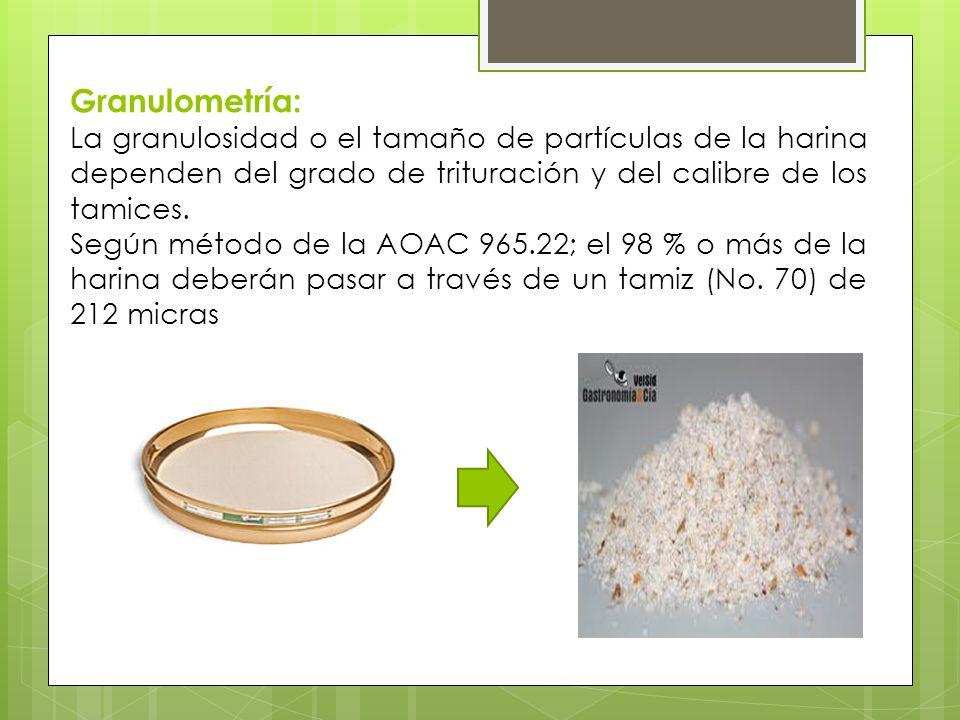 Granulometría: La granulosidad o el tamaño de partículas de la harina dependen del grado de trituración y del calibre de los tamices.