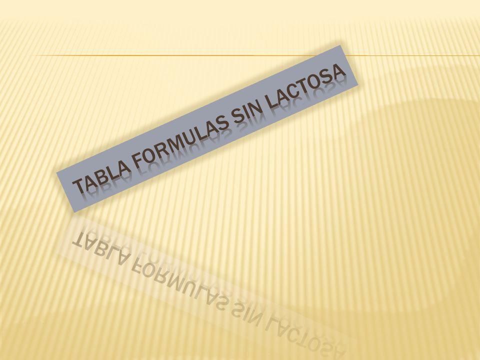 TABLA FORMULAS SIN LACTOSA