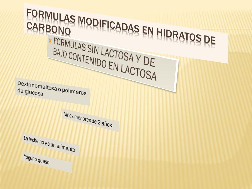 FORMULAS MODIFICADAS EN HIDRATOS DE CARBONO