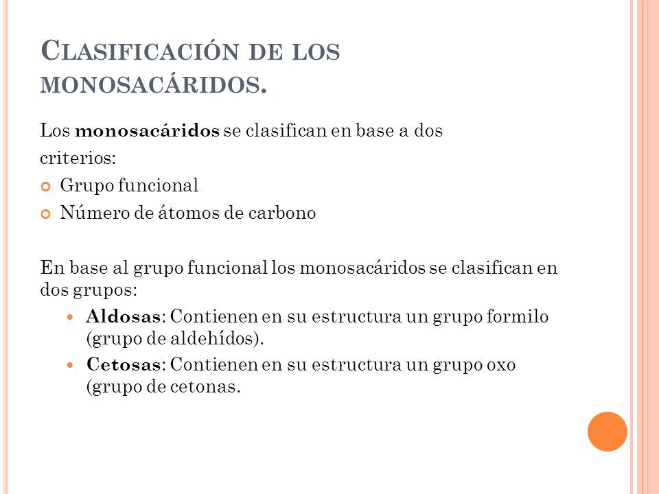 Clasificación de los monosacáridos.