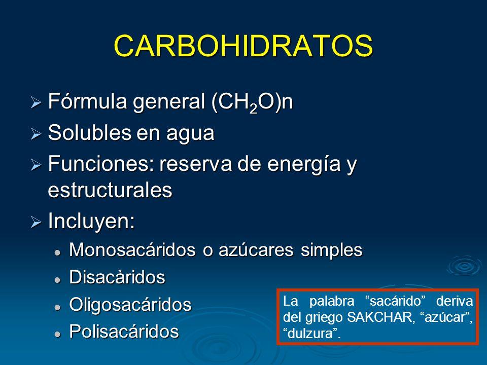 CARBOHIDRATOS Fórmula general (CH2O)n Solubles en agua