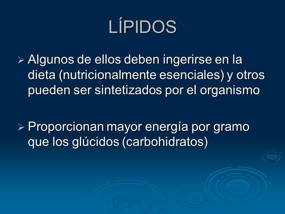 LÍPIDOS Algunos de ellos deben ingerirse en la dieta (nutricionalmente esenciales) y otros pueden ser sintetizados por el organismo.