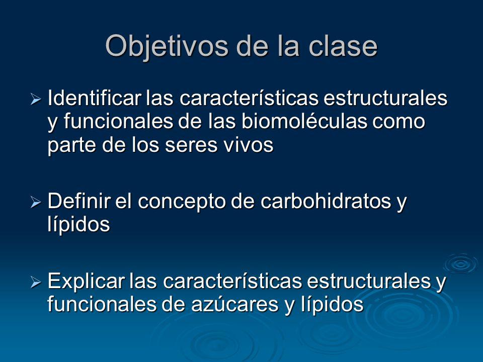 Objetivos de la clase Identificar las características estructurales y funcionales de las biomoléculas como parte de los seres vivos.