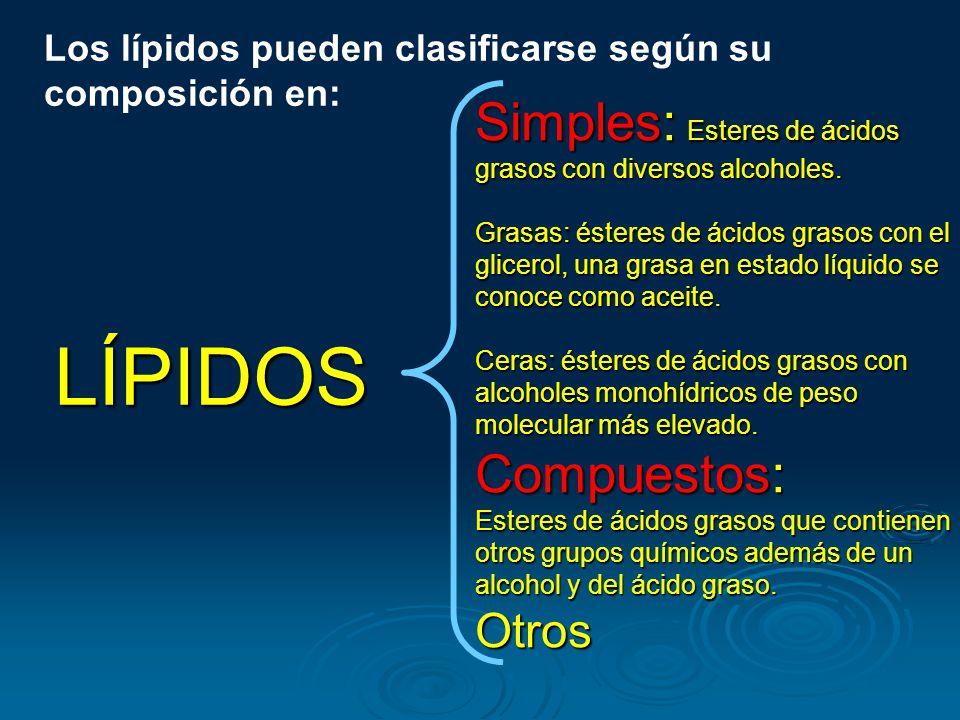 Los lípidos pueden clasificarse según su composición en: