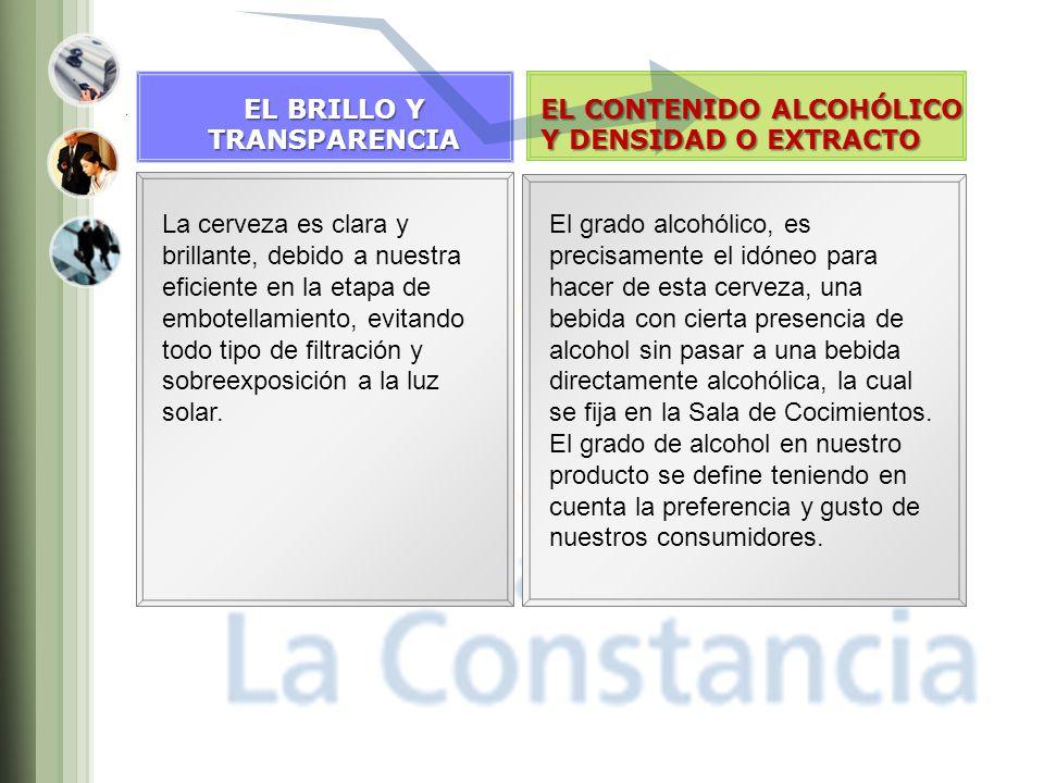 EL BRILLO Y TRANSPARENCIA. EL CONTENIDO ALCOHÓLICO. Y DENSIDAD O EXTRACTO.