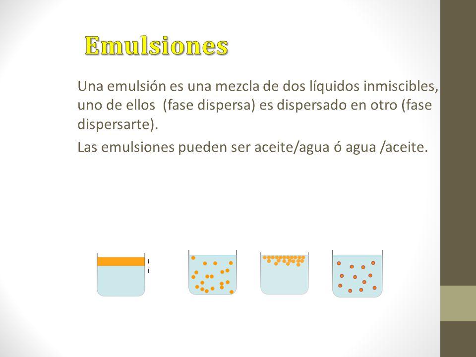 Emulsiones Una emulsión es una mezcla de dos líquidos inmiscibles, uno de ellos (fase dispersa) es dispersado en otro (fase dispersarte).