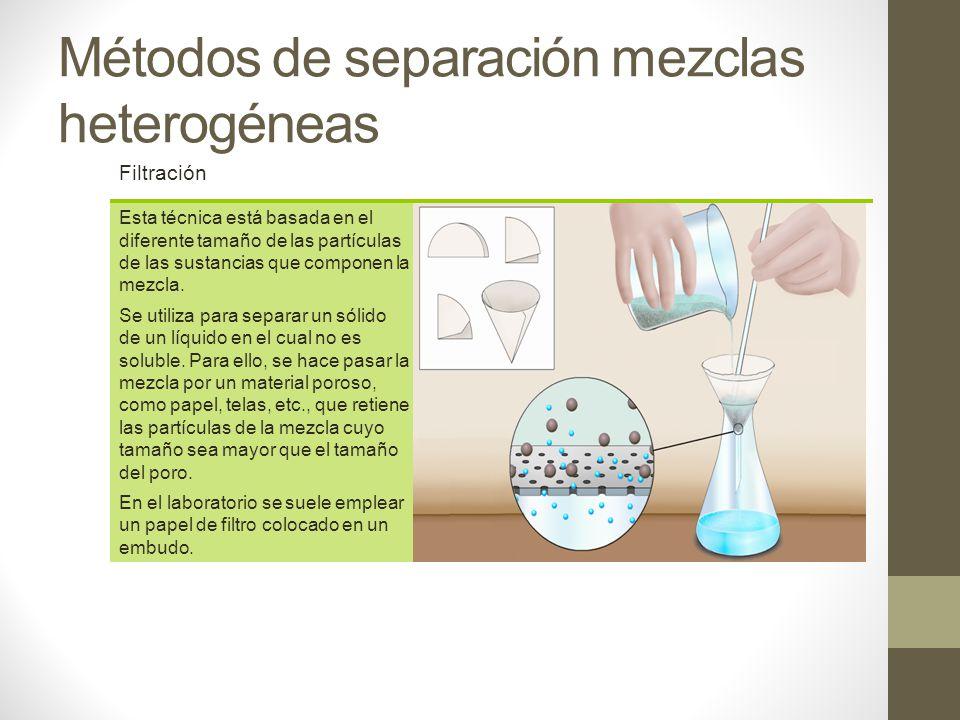 Métodos de separación mezclas heterogéneas