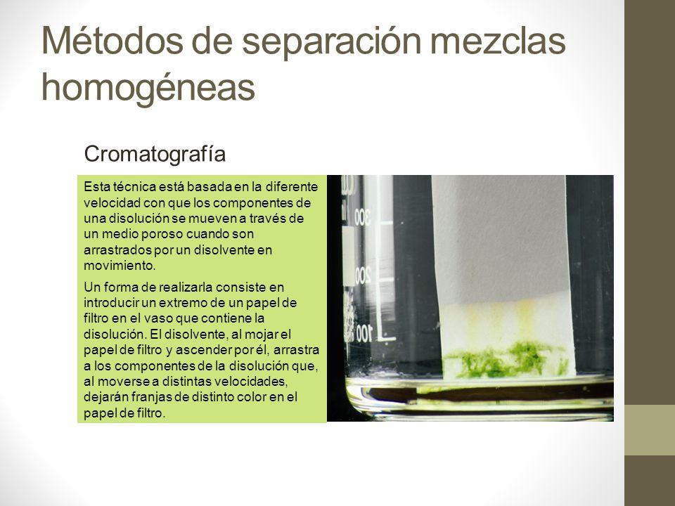Métodos de separación mezclas homogéneas