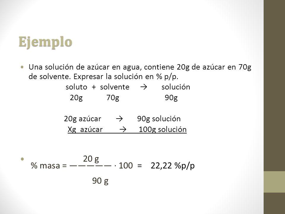 Ejemplo 20 g % masa = ————— · 100 = 22,22 %p/p 90 g