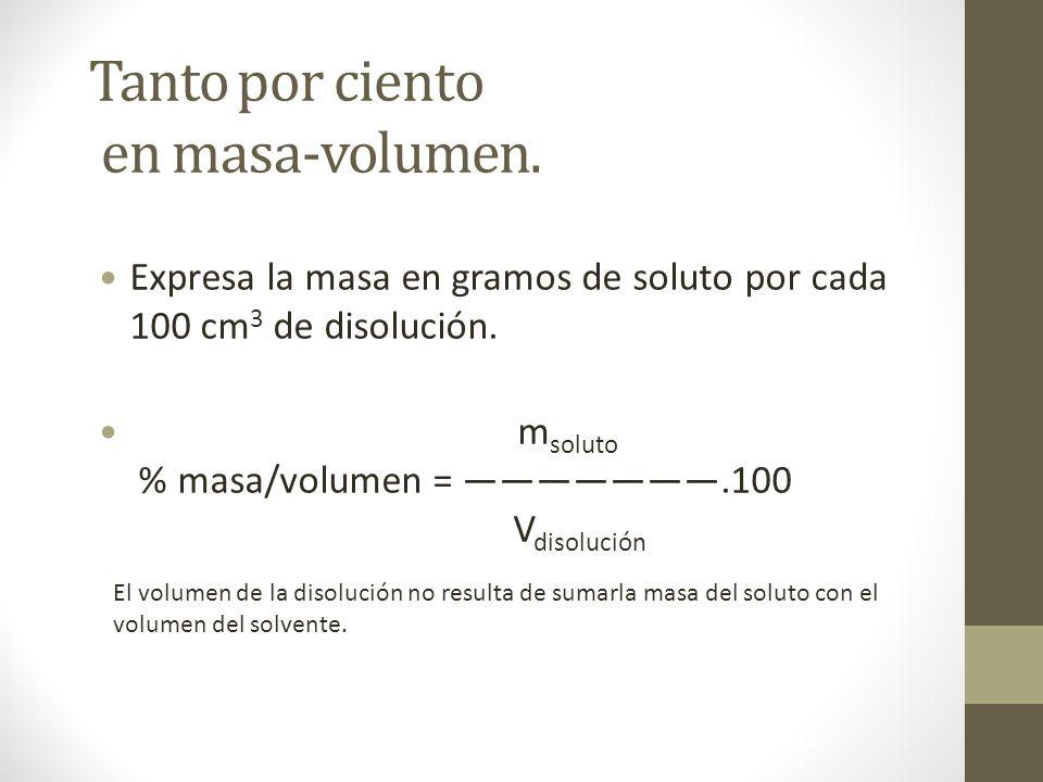 Tanto por ciento en masa-volumen.